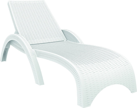 Compamia Miami Resin Wickerlook Chaise Lounge White ISP860-WH - RestaurantFurniturePlus + Chairs, Tables and Outdoor - 1