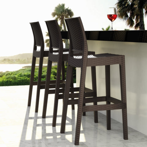 Compamia Jamaica Resin Wickerlook Barstool Brown ISP866-BR - RestaurantFurniturePlus + Chairs, Tables and Outdoor - 3