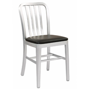 Brushed Aluminum Classic Outdoor Chair with Padded Seat