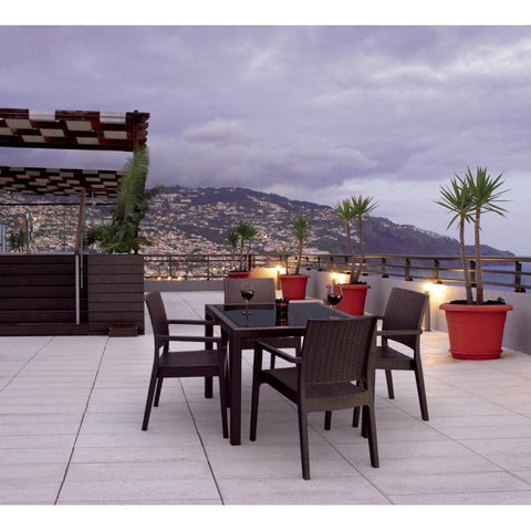Compamia Miami Resin Wickerlook Square Dining Table Brown 37 inch ISP870-BR - RestaurantFurniturePlus + Chairs, Tables and Outdoor - 3