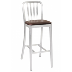 Brushed Aluminum Classic Outdoor Bar Stool with Padded Seat