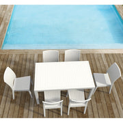 Compamia Orlando Wickerlook Rectangle Dining Set 7 Piece White with Florida Side Chairs ISP8781S-WH - YourBarStoolStore + Chairs, Tables and Outdoor  - 1