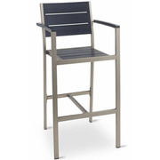 Outdoor Aluminum Bar Stool with Arms and Synthetic Teak Slats