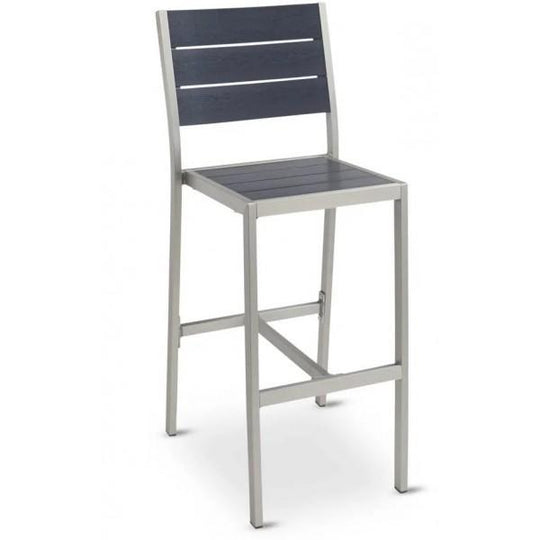 Outdoor Aluminum Bar Stool with Synthetic Teak Slats