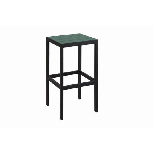 SOL Outdoor Backless Aluminum Bar Stool with Synthetic Teak Slats