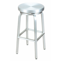 Brushed Aluminum Classic Outdoor Backless Swivel Bar Stool