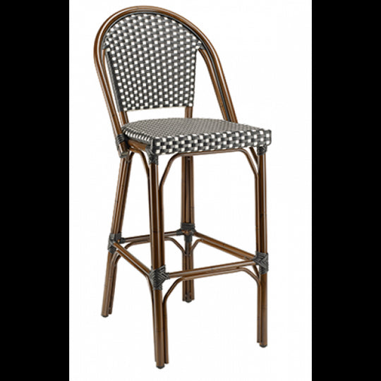 Marina Outdoor Aluminum Bar Stool with Walnut Frame and Black/White Synthetic Rattan