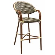 Capri Outdoor Aluminum Bar Stool with Mahogany Frame and Beige-Brown Woven Nylon