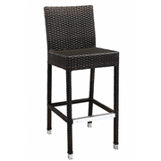 Amalfi Outdoor Espresso Synthetic Wicker Bar Stool with Aluminim Frame