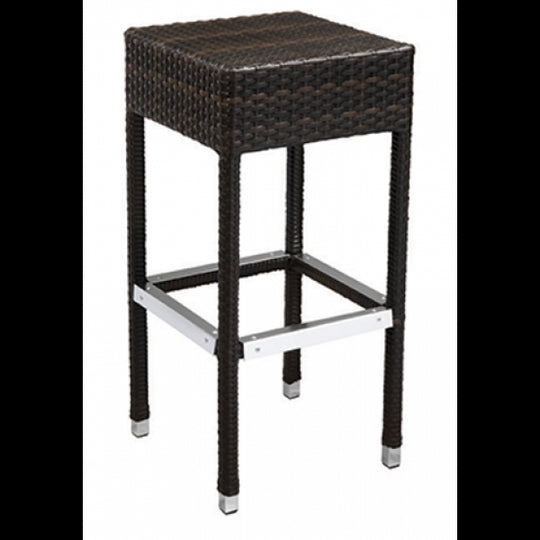 Amalfi Outdoor Espresso Synthetic Wicker Backless Bar Stool with Aluminim Frame