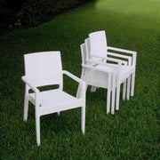 Compamia Miami Wickerlook Square Dining Set 5 Piece White with Armchairs ISP990S-WH - YourBarStoolStore + Chairs, Tables and Outdoor
