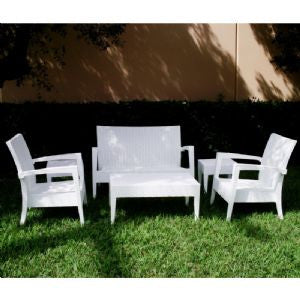 Compamia Miami Resin Wickerlook Conversation Set 6 piece White ISP991S-WH - YourBarStoolStore + Chairs, Tables and Outdoor  - 1