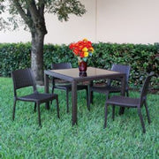 Compamia Miami Wickerlook Square Dining Set 5 Piece Brown with Side Chairs ISP992S-BR - YourBarStoolStore + Chairs, Tables and Outdoor - 6
