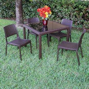 Compamia Miami Wickerlook Square Dining Set 5 Piece Brown with Side Chairs ISP992S-BR - YourBarStoolStore + Chairs, Tables and Outdoor - 7