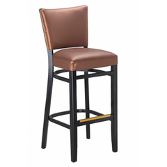 Oxford Solid Wood Bar Stool with Nailheads