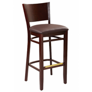 Contempo Solid Wood Bar Stool in Walnut Finish