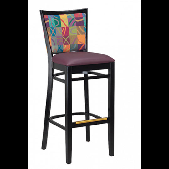 Checker Back Solid Wood Fully Upholstered Bar Stool - Black Frame