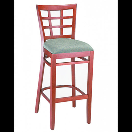 Checker Back Solid Wood Bar Stool