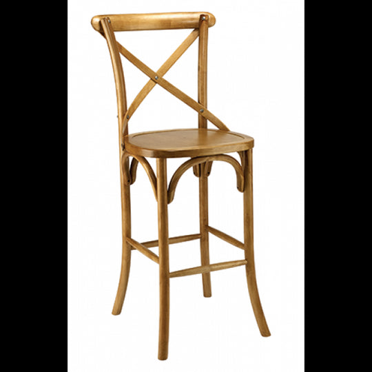 Crossback Solid Wood Bar Stool