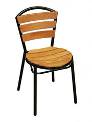 Outdoor Teak Side Chair with Aluminum Frame