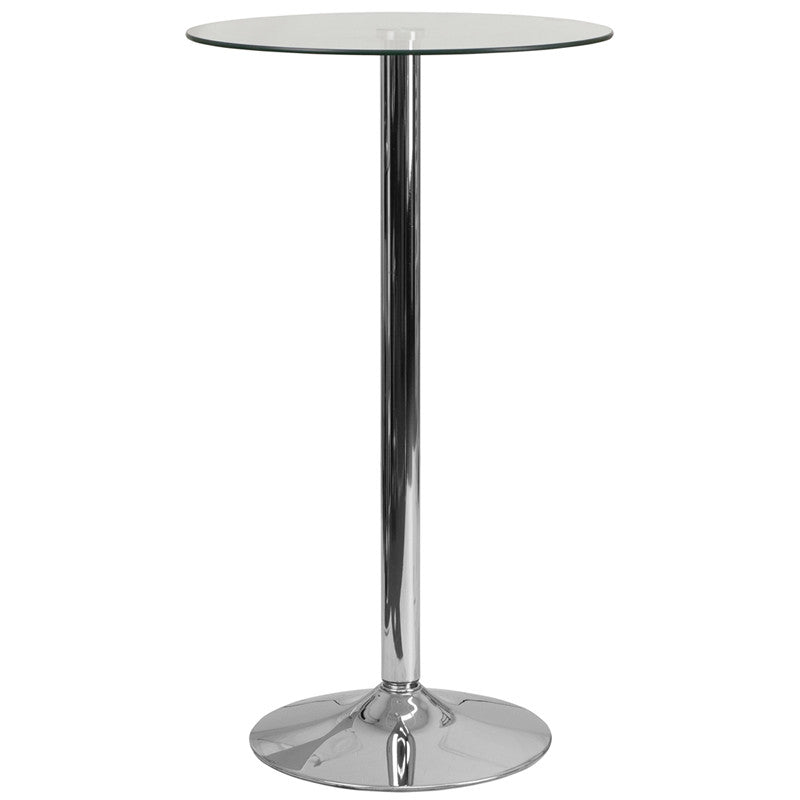 23.75'' Round Glass Table with 41.75''H Chrome, Metal Base