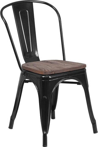 Tolix Stackable Chair with Wood Seat - Black
