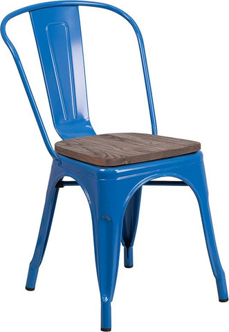 Tolix Stackable Chair with Wood Seat - Blue