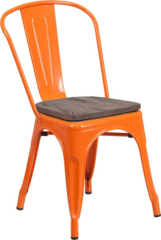 Tolix Stackable Chair with Wood Seat - Orange