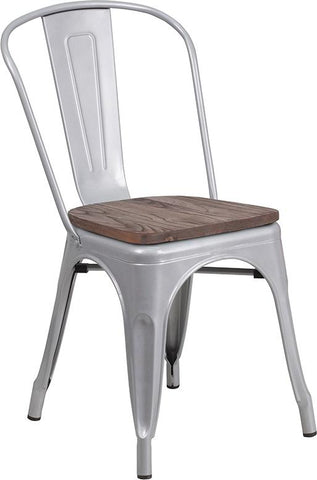 Tolix Stackable Chair with Wood Seat - Silver