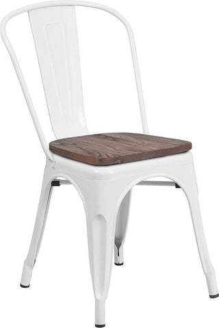 Tolix Stackable Chair with Wood Seat - White
