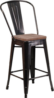 "24"" High Tolix Counter Height Stool with Back and Wood Seat - Black Antique Gold"