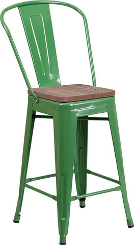"24"" High Tolix Counter Height Stool with Back and Wood Seat - Green"