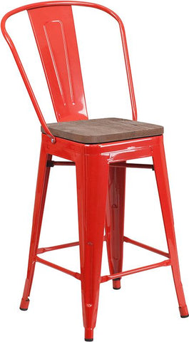 "24"" High Tolix Counter Height Stool with Back and Wood Seat - Red"
