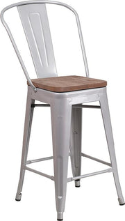 "24"" High Tolix Counter Height Stool with Back and Wood Seat - Silver"