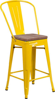 "24"" High Tolix Counter Height Stool with Back and Wood Seat - Yellow"