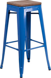 "30"" High Backless Tolix Barstool with Square Wood Seat - Blue"