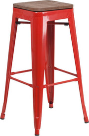 "30"" High Backless Tolix Barstool with Square Wood Seat - Red"