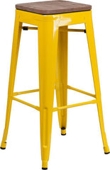 "30"" High Backless Tolix Barstool with Square Wood Seat - Yellow"