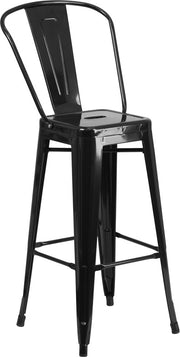 Tolix Style 30'' High Black Metal Indoor-Outdoor Bar Stool with Back