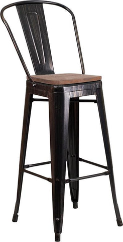 "30"" High Tolix Barstool with Back and Wood Seat - Black Antique Gold"