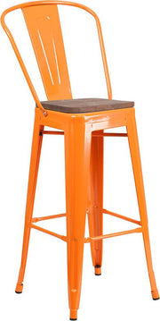 "30"" High Tolix Barstool with Back and Wood Seat - Orange"