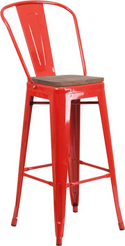 "30"" High Tolix Barstool with Back and Wood Seat - Red"