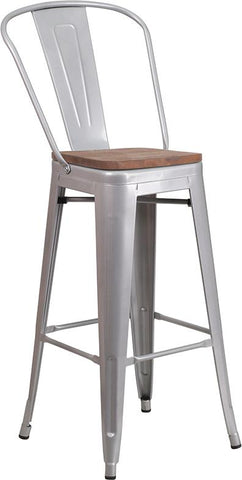 "30"" High Tolix Barstool with Back and Wood Seat - Silver"