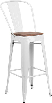 "30"" High Tolix Barstool with Back and Wood Seat - White"