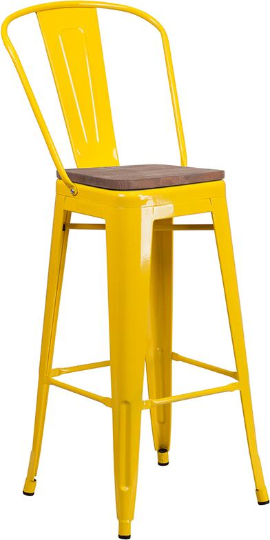 "30"" High Tolix Barstool with Back and Wood Seat - Yellow"