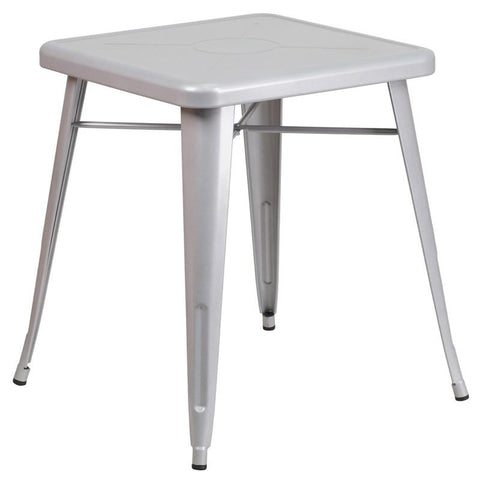 Tolix Style 23.75'' Square Metal Indoor-Outdoor Table