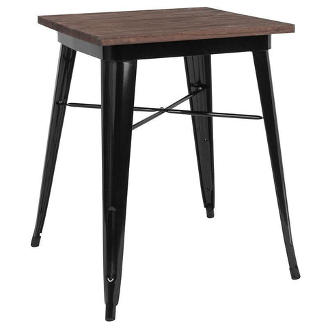 "23.5"" Square Tolix Indoor Table with  Wood Top - Black"