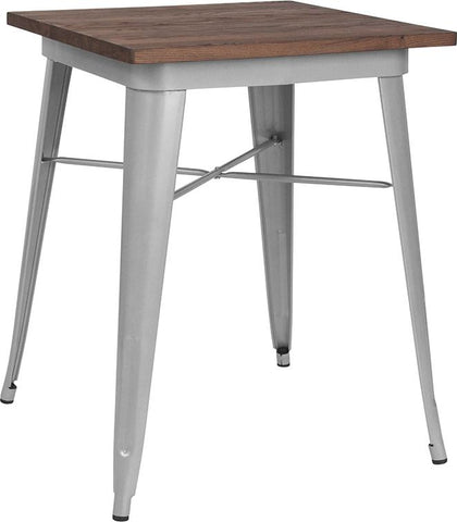 "23.5"" Square Tolix Indoor Table with  Wood Top - Silver"