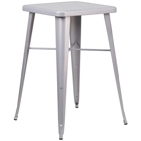 Tolix Style 23.75'' Square Metal Indoor-Outdoor Bar Height Table