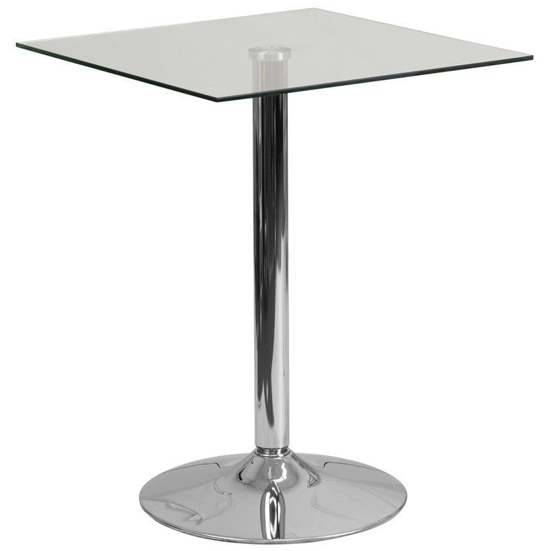 23.75'' Square Glass Table with 30''H Chrome, Metal Base